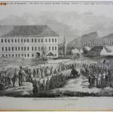 * Litografie Sibiu - Hermanstadt 1846 - autentica - Harta