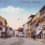 Romania, Nagyszeben, Sibiu, carte postala necirculata 1918: Strada Disznodi, animat, Fotografie