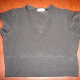 Bluzita neagra disco pana in talie, model super - Bluza dama, Maneca scurta, Fuchsia, Poliester