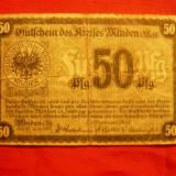 Bancnota Straine - Bancnota -Notgeld 50 Pf oras Minden 1917 Germania