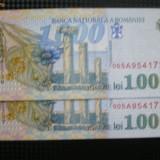 BANCNOTE UNC 1000 LEI 1998 SERII CONSECUTIVE