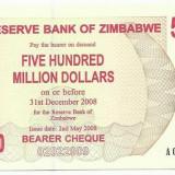 Bancnota Straine - ZIMBABWE 500.000.000 Dollars 2008 - UNC !!!