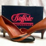 Pantofi dama Buffalo, Piele naturala - Pantofi piele maro cu negru (107-12929 DARK)