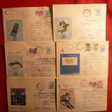 10 Plicuri -Ilustrate - Olimpiade - 1972- 1981 - Plic Papetarie