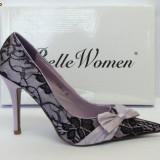 Pantofi mov cu negru, saten si dantela - (Belle Woman 3199-2 purple) REDUCERE EXCEPTIONALA DE PRET - Pantof dama, Marime: 38, Culoare: Lila, Lila