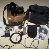 Parasolar Obiectiv Foto - Nikon D5000 kit Nikon AF-S 55-200mm+18-55+parasolar+ doua baterii+filtru UV Kenko+Card SDHC Nikon 4GB+Geanata foto