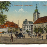 Carte postala foarte rara. HERMANNSTADT. GROSSER RING. SIBIU. PIATA MARE. EMIL FISCHER - Carte Postala Romania 1904-1918