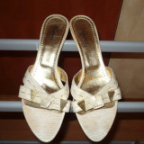 Sandale dama, Marime: 36.5 - Sandale, papuci, saboti Crem, piele naturala, KISMET, nr. 38