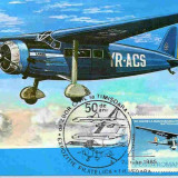 Ilustrata maxima aviatie - avion ICAR Comercial, Exp. Fil. Timisoara 1985