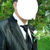 Costum barbati, 1 nasture, Normal, Negru - Costum mire cadou camasa
