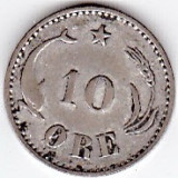 Danemarca 10 ORE 1897 argint, cotatie ridicata