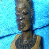 STATUETA MASIVA ABANOS UNICAT, ARTA ORIGINAL-IIII, ARTA AFRICANA - Sculptura