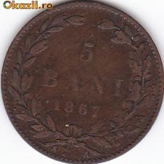 Monede Romania - 5 BANI 1867(WATT) 1A