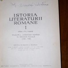 Studiu literar - Istoria Literaturii Romane-Edit.Academiei Vol.1.