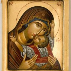 Icoana Icoane lemn Ortodox bizantin Maica Domnului Iisus religie biserica sfantul - Icoana pe lemn