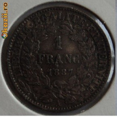 1 franc 1887 frumoasa, argint