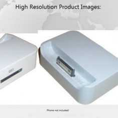 Dock alb iPhone 4 Iesire audio 3.5mm + folie ecran cadou - Dock telefon