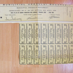 CUPON OBLIGATIUNE 1000 LEI BUCURESTI NR. 6721 DIN 1930 **, Romania 1900 - 1950