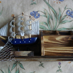 Macheta Navala - Macheta corabie panza lemn compartimente mester vopsit manual