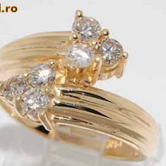 Inel aur galben 14K cu 6 diamante naturale 0, 70CT superb, 46 - 56