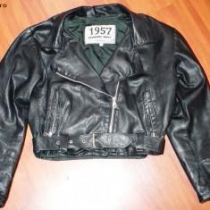 Geaca dama - Jacheta / geaca piele, neagra, vintage, 1957 Legendary Jacket, scurta, marimea M - MODEL IN TREND!!!!