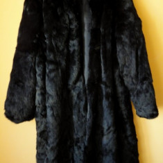Haina de blana naturala / Haina lunga blana naturala - Palton dama, Negru