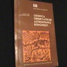 CRONICA OBSERVATIILOR ASTRONOMICE ROMANESTI- VASILE DAMASCHIN MIOC-358-PG- - Carte Astronomie