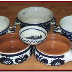 Arta Ceramica - Ceramica albastra de Corund - Colectie de 34 obiecte vechi, pictate manual, arta traditionala, ceramics folk art
