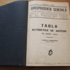 JURISPRUDENTA GENERALA ANUL XI - (1933 ) - director VINTILA DONGOROZ -- [ 1933, are 1284 pagini ] - Carte Jurisprudenta