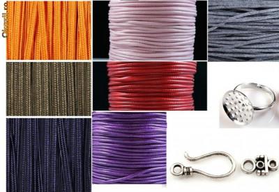 kit pentru confectionarea de bijuterii handmade- snur,ata matase,inel , incuietori foto