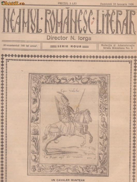 Revista Neamul Romanesc Literar (serie noua,An I,nr.7/1926) foto mare