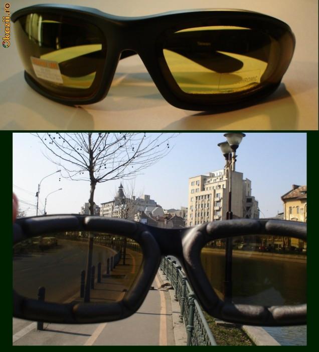 Ochelari soare heliomati fotocromatici lentila heliomata fotocromatica heliomatica 100%UV UV400 motociclist photochromic noapte foto mare