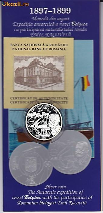 BNR 100  lei 1999,Expeditia antarctica BELGICA,Emil Racovita,,argint 27 grame foto mare