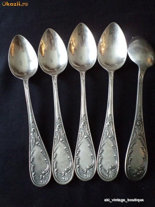 Set linguri alpaca placata cu argint, vechi, 5 bucati foto mare