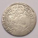 Moneda Medievala, Europa, An: 1666 - POLONIA 6 GROSCHEN 1666 ARGINT IOAN / JOHANN CASIMIR 2, 84 gr., 2, 5 cm **