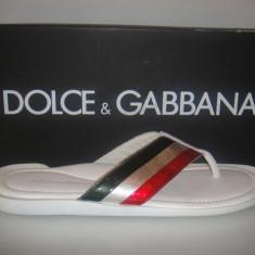 PAPUCI DOLCE&GABBANA BEACHWEAR PIUMOTT / VERNICE (ORIGINAL IN CUTIE) - Papuci barbati Dolce & Gabbana, Marime: 40, Culoare: Alb