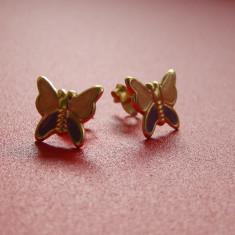 Cercei argint - Cercei copii din argint 925 placati cu aur in forma de fluturasi cu aripioare roz cu violet