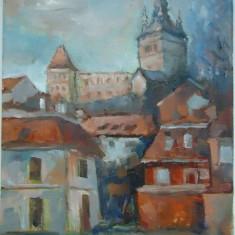 Tablou pictat in ulei pe panza cetatea Sighisoara!!, Peisaje, Realism