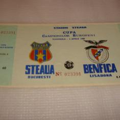 BILET MECI FOTBAL STEAUA - BENFICA semifinala CCE 1988