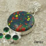 Pandantiv din ARGINT 925 cu mozaic jasper si quartz verde - Pandantiv argint