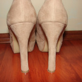 Pantofi toc inalt si gros nude imitatie piele intoarsa