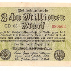 LL bancnota Germania 10 milion marci 1923 - Bilet Loterie Numismatica