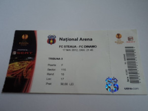 Bilet meci fotbal STEAUA - DINAMO 17.05.2012 foto
