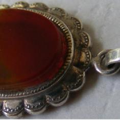 Medalion vechi din argint cu piatra - de colectie - Pandantiv argint