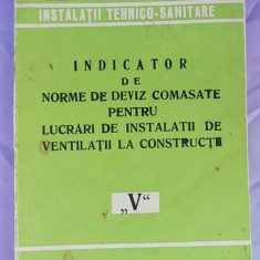INDICATOR DE NORME DE DEVIZ COMASATE PENTRU LUCRARI DE INSTALATII DE VENTILATII LA CONSTRUCTII/V/ - Carti Constructii