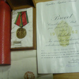 Lot acordat aceleiasi persoane - RSR + Medalia In Cinstea Incheierii Colectivizarii 1962 + cutii + brevete + port-brevet - Ordin/ Decoratie