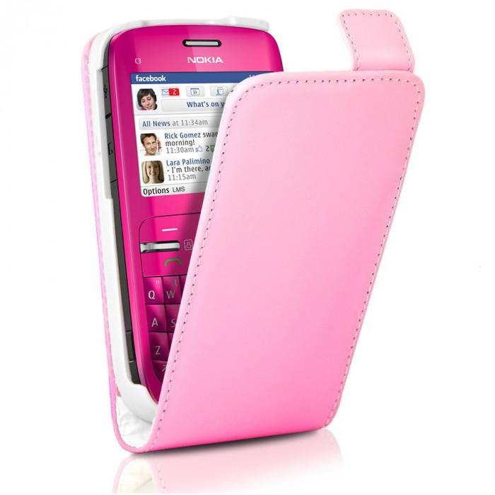 Silicon Nokia c3 Nokia c3 Husa de Piele Roza