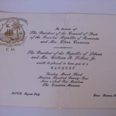 UNICAT!!! INVITATIE LA BANCHETUL DIN 3 MARTIE 1974 OFERIT DE PRES.REP.LIBERIA IN ONOAREA LUI NICOLAE SI ELENA CEAUSESCU - Pasaport/Document, Africa