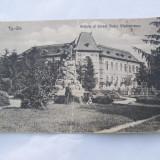 TARGU-JIU-STATUIA SI LICEUL TUDOR VLADIMIRESCU - Carti Postale Romania dupa 1918, Circulata