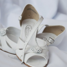 Pantofi de mireasa din piele lacuita - Pantofi dama, Marime: 35, Culoare: Alb, Alb